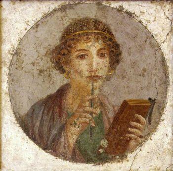 Fresco of young woman, so-called Sappho (I century C.E., Pompeii Insula VI 17)
